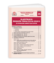Klasyfikacja Środków Trwałych na 2018 r. ze stawkami amortyzacyjnymi